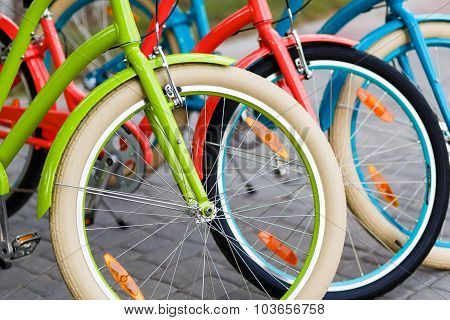Closeup Of Bright Colored City Woman Bikes Outdoors