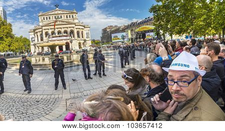 People Waiting For The Politicians In Front Of Old Opera House In Frankfurt