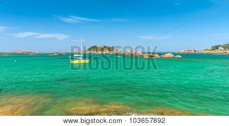 Fishing boat and island in Bretagne France
