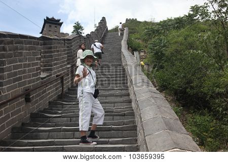 Beijing - June 12: Visitors Walks On The Great Wall Of China On