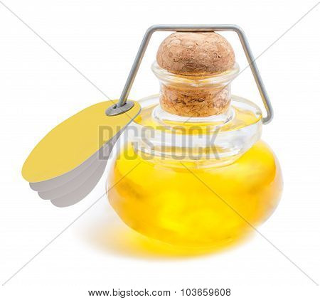 Bottle of olive oil with a yellow tag attached