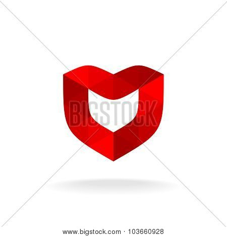 Red Shield With Heart Shape. Color Triangles Style.