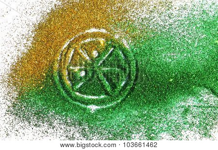 Blurry lime or lemon of golden and green glitter sparkle on white background