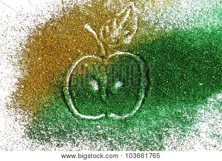 Blurry apple of golden and green glitter sparkle on white background