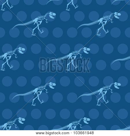Skeleton Tyrannosaurus Seamless Pattern. Dinosaur Bones Ornament For Fabrics. Vector Background Of A