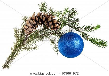 Twig Of Fir Tree With Cone And Blue Ball On White