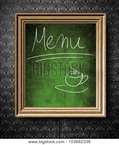 Coffee Menu Chalkboard In Old Wooden Frame