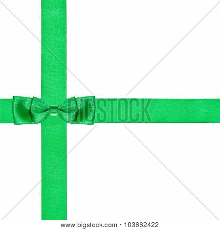 Double Green Bow Knot On Two Crossing Satin Ribbon