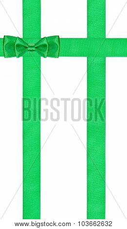 Double Green Bow On Three Vertical Satin Ribbons