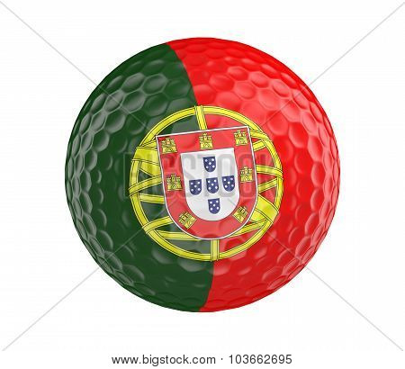 Golf ball 3D render with flag of Portugal, isolated on white