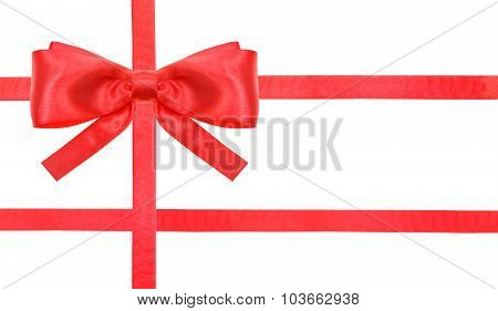 Red Satin Bow Knot And Ribbons On White - Set 28