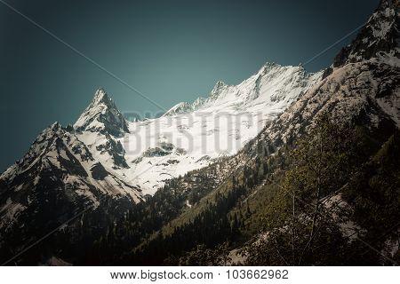Beautiful Valley And Peaks In Caucasus Mountains, The Main Caucasian Ridge. North Caucasus
