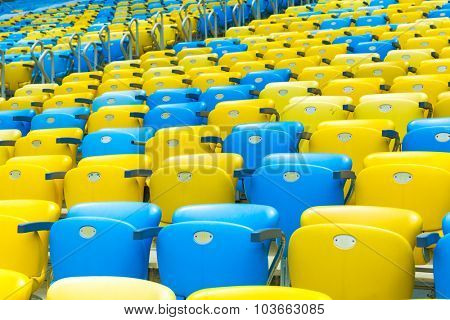 Colored blue and yellow seats