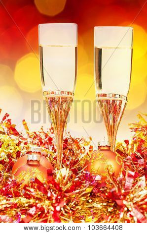 Glasses, Gold Xmass Balls On Blurry Background 8