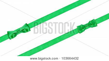 Two Little Green Bow Knots On Two Diagonal Ribbons