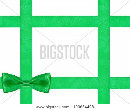 One Big Green Bow Knot On Four Satin Ribbons