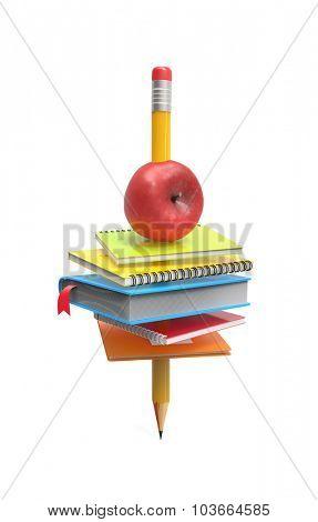 School equipment on the pencil