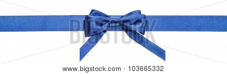 Blue Ribbon And Real Bow With Vertical Cut Ends