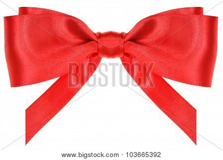 Symmetrical Red Silk Bow With Vertically Cut Ends