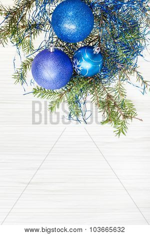 Three Blue And Violet Xmas Baubles, Twig On Paper