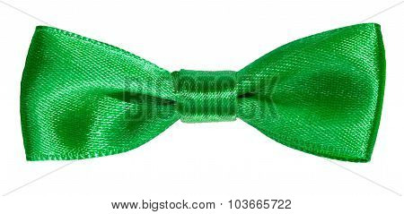 Real Green Satin Bow Knot Isolated On White