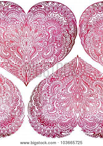 Vecror Seamless Pattern With Hand Drawn Ornate Hearts