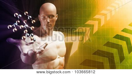 Medical Science Technology with Scientist Holding Molecule