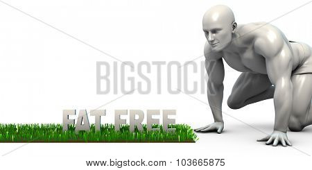 Fat Free Concept with Man Looking Closely to Verify