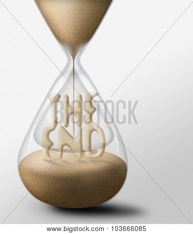 Hourglass With The End. Concept Of Expectations And Passing Time