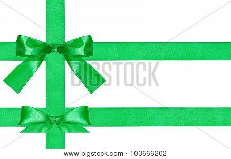Two Big Green Bow Knots On Three Satin Ribbons