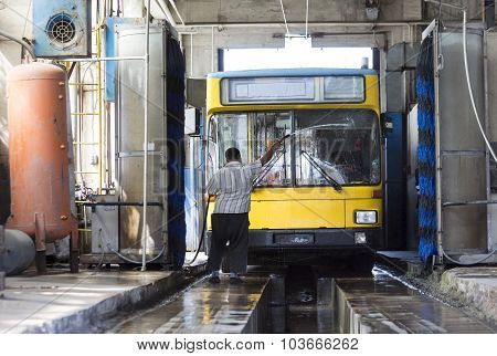 Trolley Washing Bus Driver