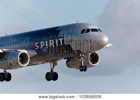 FORT LAUDERDALE, USA - MAY 30, 2015: A Spirit Airlines Airbus A320