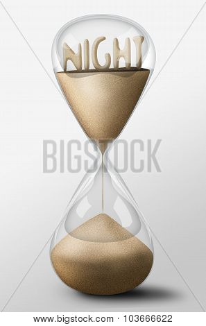 Hourglass With Night Made Of Sand. Concept Of Passing Time