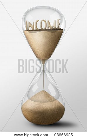 Hourglass With Income Made Of Sand. Concept Of Expectation