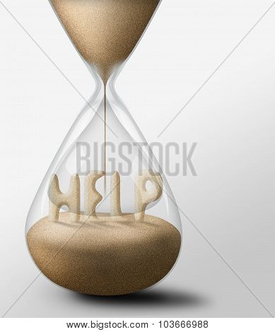 Hourglass With Help. Concept Of Expectations And Passing Time