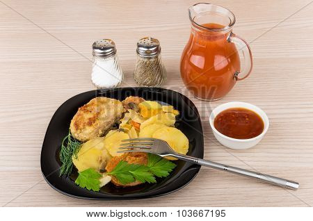 Vegetable Mix  With Cutlet In Plate, Salt, Pepper, Tomato Juice