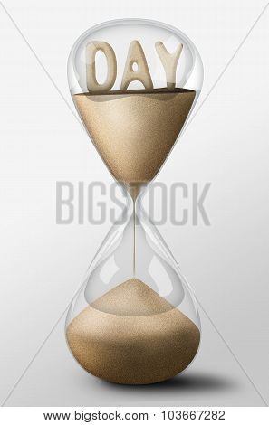Hourglass With Day Made Of Sand. Concept Of Passing Time
