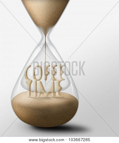 Hourglass With Coffee Time. Concept Of Leisure Nad Expectations