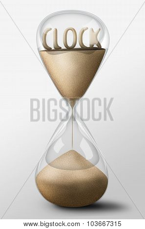 Hourglass With Clock Made Of Sand. Concept Of Time Passing