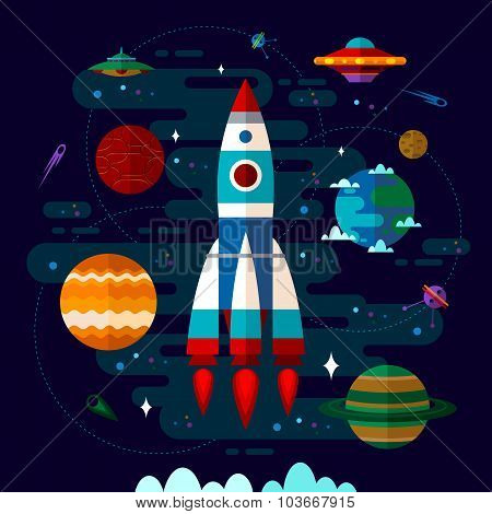 Space With Spaceship, Ufo And Planets.