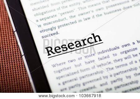 Research On Tablet Screen, Ebook Concept