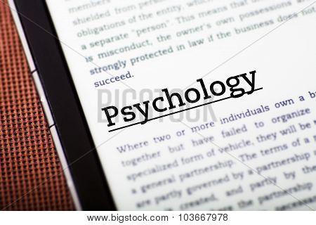 Psychology On Tablet Screen, Ebook Concept