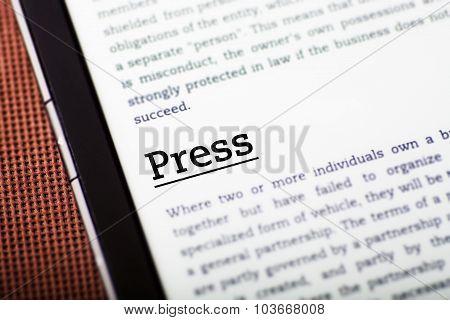 Press On Tablet Screen, Ebook Concept