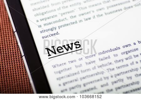 News On Tablet Screen, Ebook Concept