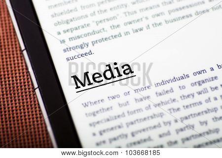 Media On Tablet Screen, Ebook Concept