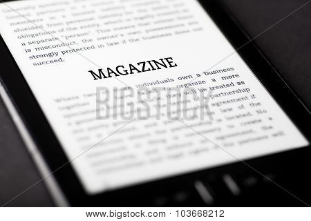 Magazine On Tablet Touchpad, Ebook Concept