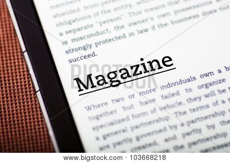 Magazine On Tablet Screen, Ebook Concept