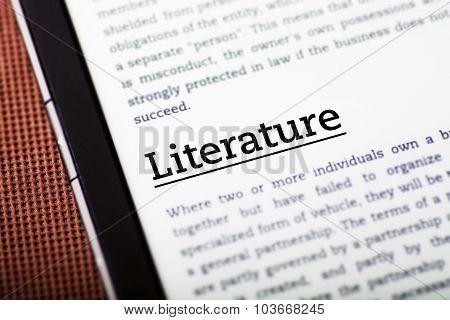 Literature On Tablet Screen, Ebook Concept
