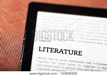 Literature On Ebook, Tablet Concept