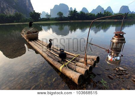 Boat With Cormorants Birds, Traditional Fishing In China Use Trained Cormorants To Fish, Yangshuo,